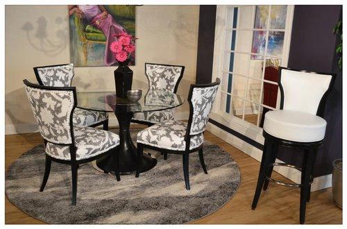 Setting V Brockton Collection - 01-644 - 1879-90 - Grade H - Level 2 - #11 White nails - Black finish S31 - Brockton Bar Height stool - 03-646-30 - 9038-10 - L1 - Satin Nickel foot ring - Black finish