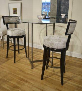 Set C Hilliard Swivel Bar Height Dining Stools - 1832-10 - Grade H - High Gloss Walnut finish